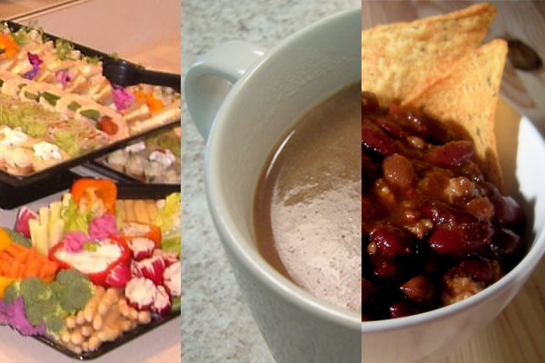 Collage of hors d'oeuvres, Mexican hot chocolate, and a bowl of chili