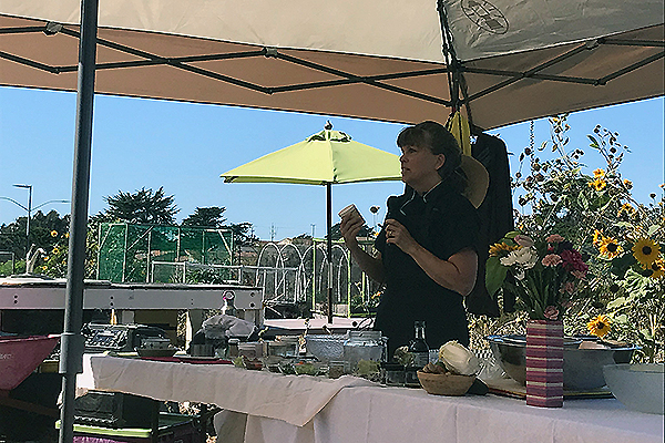 Chef Sherrie Ransom giving a cooking demonstration